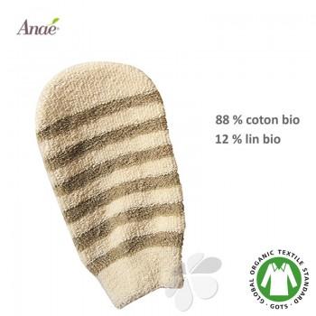 Gant lavant et exfoliant en lin et coton bio