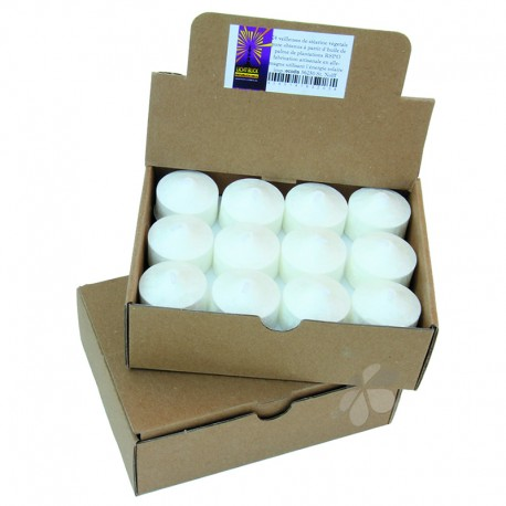 Boîte de 24 veilleuses en stéarine bio blanche