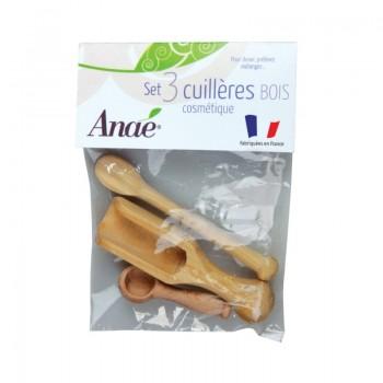 Kit de 3 cuillères en bois cosmétique et cuisine